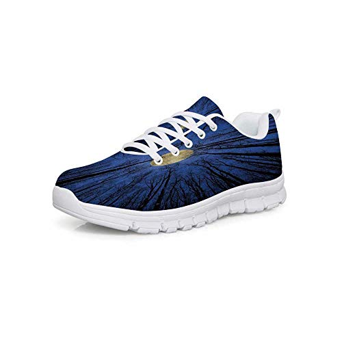 916dd93f3cc99 TecBillion Forest Home Decor Comfortable Sports Shoes,Full Moon  Illumination in Woods Star Night Heavenly Lunar Treetops Up Space Art for  Men & ...