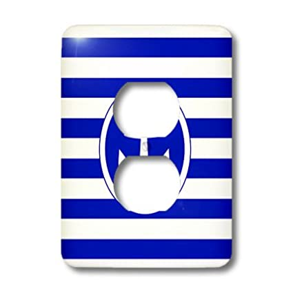 Nautical anchor circle on dark navy blue and white stripes 3dRose InspirationzStore Nautical Designs Light Switch Covers lsp/_179689/_6 2 plug outlet cover Striped