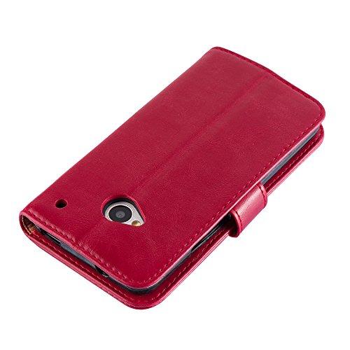 Cadorabo - Funda Estilo Book Lujo para HTC ONE M7 (1. Generación) con Tarjetero y Función de Suporte - Etui Case Cover Carcasa Caja Protección en NEGRO-GRAFITO ROJO-BURDEOS