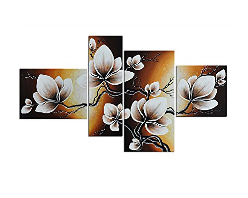 Noah Art-Modern Paintings Flowers, Gallery-Wrapped Tulip Flower Picture 100 Hand Painted Floral Oil Paintings on Canvas, 4 Piece Flower Wall Art Bedroom Ready to Hang