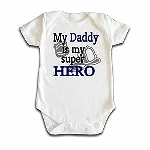 Daddy Is My Hero Fireman Baby Onesie Bodysuit White