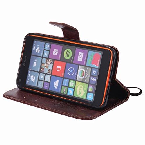 Yiizy Microsoft Lumia 640 LTE Custodia Cover, Sole Petali Design Sottile Flip Portafoglio PU Pelle Cuoio Copertura Shell Case Slot Schede Cavalletto Stile Libro Bumper Protettivo Borsa (Marrone)