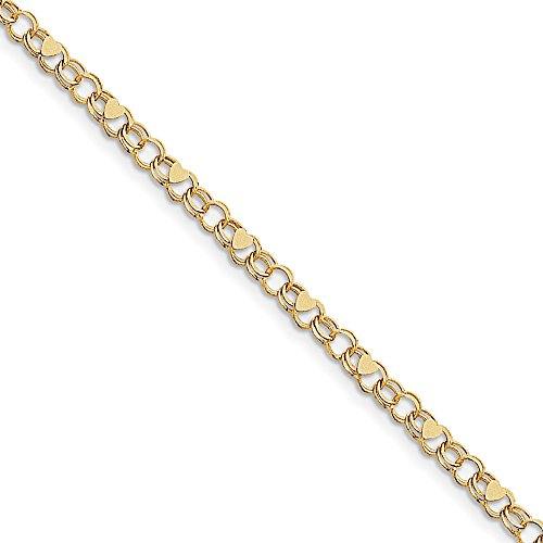 10k Yellow Gold Double Link Heart Charm Bracelet 7inch by Diamond2Deal