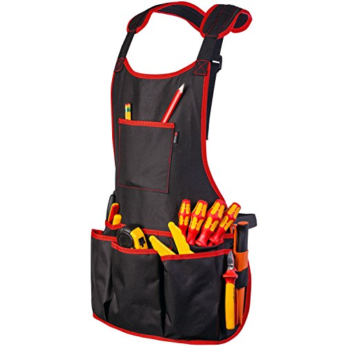 NoCry Professional Canvas Work Apron - with 16 Tool Pockets, Fully Adjustable, Waterproof & Protective, Black