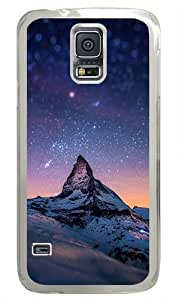 Starry Night With A Mountain Custom Samsung Galaxy S5 Case and Cover - Polycarbonate - Transparent