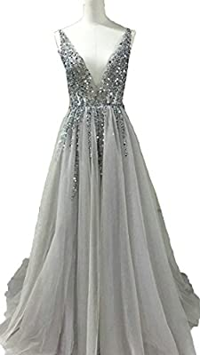 BessDress V-Neck Evening Dresses Sequins Tulle High Split Prom Formal Party Gown BD272
