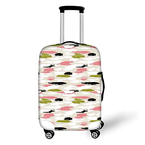 (Travel Luggage Cover Suitcase Protector,Art,Bold Pattern with Thick Brushstrokes and Stripes Hand Painted Boho Print,Coral Black Olive Green,for TravelM 23.6x31.8Inch)