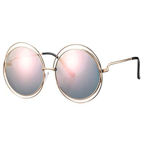 Pro Acme Women's Double Circle Metal Wire Frame Oversized Round Sunglasses (Pink Mirrored Lens) (Accessories Chloe)