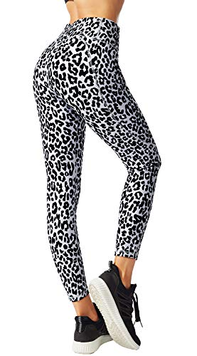 FITTIN Leopard Printed Yoga Leggings for Women with Pocket - for Running Sports Fitness Gym Grey Medium