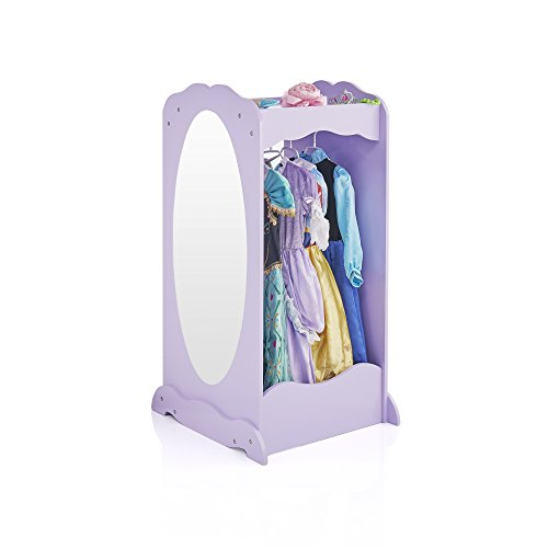 Guidecraft Dress Up Cubby Center - Lavender: Kids Clothing Storage Rack, Costume & Shoes Wardrobe with Mirror and Side Hooks -  Standing Closet for Toddlers
