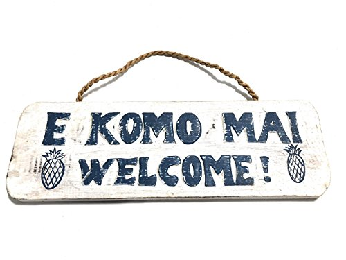 ''E KOMO MAI, WELCOME'' COTTAGE SIGN 14'' - RUSTIC WHITE & BLUE - COASTAL DECOR by TikiMaster