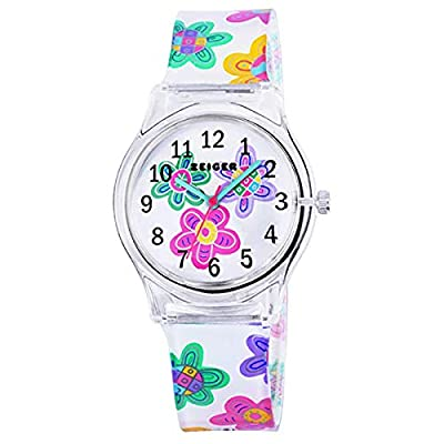 Teen Young Girls Children Kids Time Teacher Watches, Colorful Flower Resin Band from Angels'