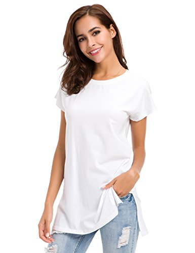 Womens Loose Fitting Side Slit Tops Tunic Short Sleeve Causal T Shirts White