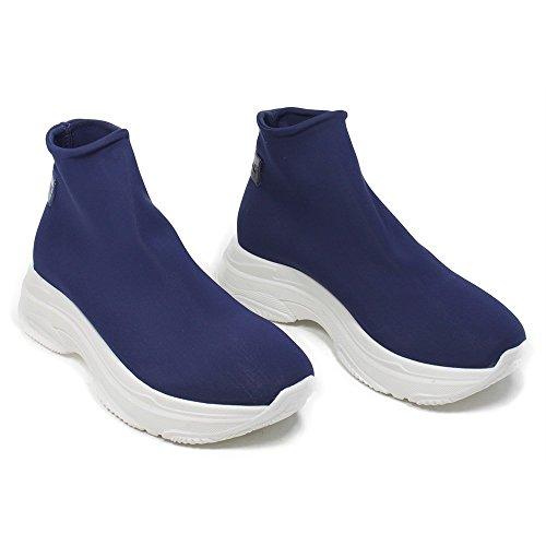 Sneakers Italy Made Personal In Scarpe 0387 Elasticizzate Flatform Calzino Platform Blu Donna Sock rrwv7AFq
