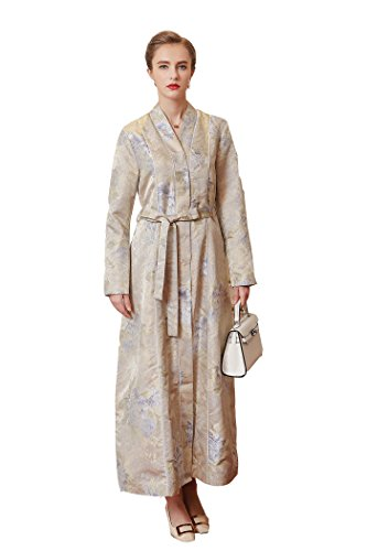 Floral Coat Silk (VOA Women's Floral Jacquard Silk Long Trench Coat Robe S7275)