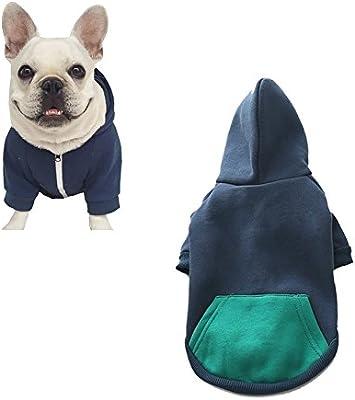 Meiwash Cremallera con Capucha Ropa para Mascotas Ropa de Gato para Perros Ropa de Mascota Linda Abrigo Caliente con Capucha Bulldog francés(XS-Small, Azul)
