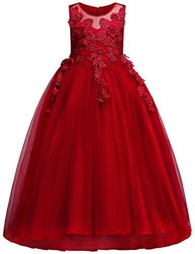 Blevonh Little Girls Dresses Kid Summer Girl Flower Gown Sleeveless Floor Length Graceful 3D Flower Piano Dress Size(130) 5-6 Years Red Dresses