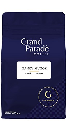 Grand Parade COFFEE 100% Colombian Narino Direct Whole Bean Coffee, Direct Trade and Fair Trade Certified, Aromatic and Flavor-Rich Medium Roast Coffee, 12 Ounce Bag ()