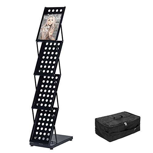 Literature Rack - T-Sign Foldable Pop Up 4 Pockets Magazine Literature Brochure Catalog Holder Rack Stand with Portable Aluminium Oxford Case for Office and Tradeshow Display
