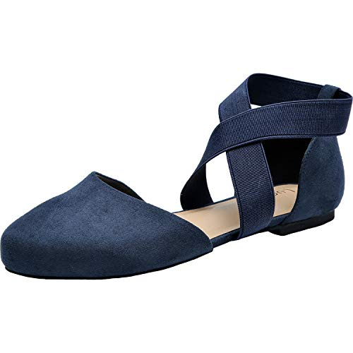 Women's Wide Width Flat Sandals - Elastic Cross Strap Pointy Toe Casual Summer Shoes.(181143,Blue,7.5)