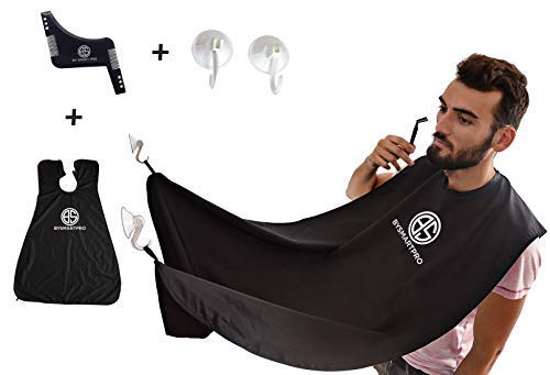 Beard Apron with Suction Cups by BY SMART PRO   Mess-free Shaving Bib + Beard Shaping Comb   Perfect gift for dads and boyfriends