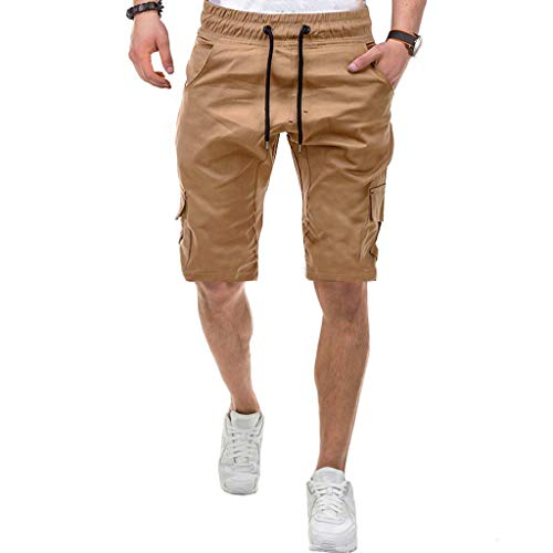 Men Gym Shorts Summer Casual Solid Elastic Waist Relaxed-Fit Sport Shorts Pants with Multi-Pocket Khaki