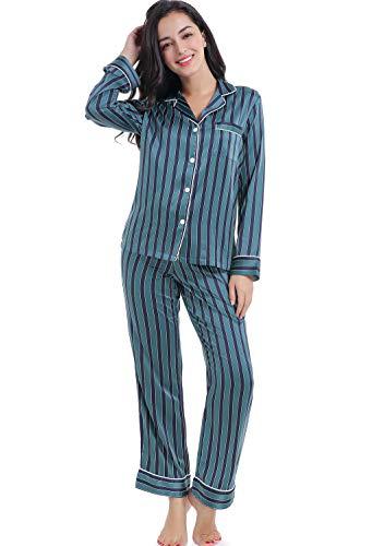 Serenedelicacy Women's Silky Satin Pajamas Long Sleeve PJ Set (X-Large / 16-18, Stripe Deep Jungle ()