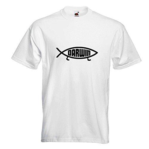 M Darwin Différentes Xl S Imprimé Fun 15 Homme En Kiwistar Couleurs Xxl Motif L Blanc shirt Coton Poisson T RCHvwq