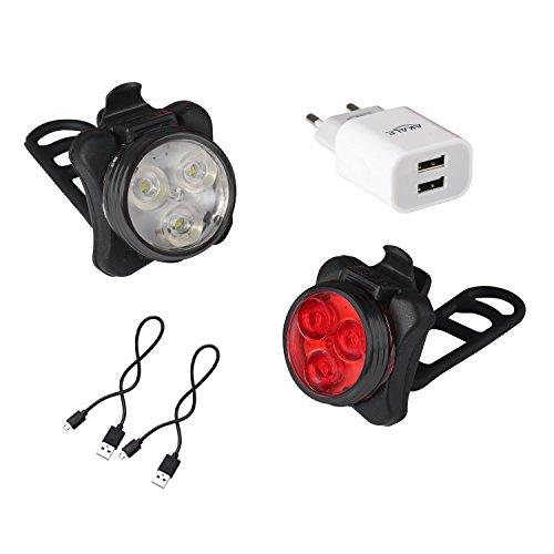 Akale Wiederaufladbare LED Fahrradlampe, LED Frontlicht und Rücklicht Für Radfahren, 350lm , 4 Licht-Modi, Fahrradscheinwerfer, Fahrradlicht, Fahrradbeleuchtung Set (2 USB-Kabel &1 Ladegerät)