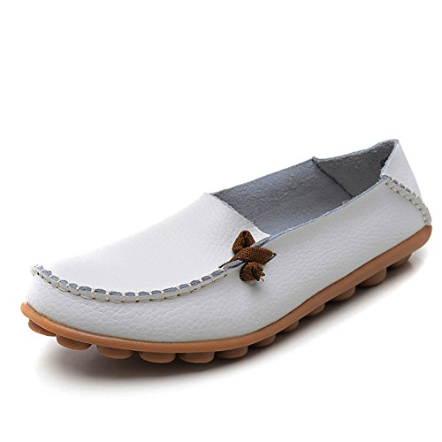 Shoes Pumps Slip On Leather Loafers Flats Causal Drivers Women's White Ifashion Work 6AqwOzvUx