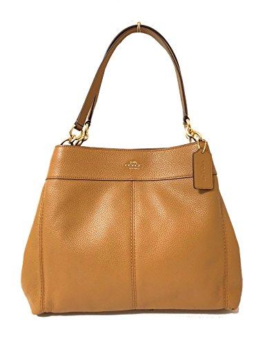 (Coach F57545 Lexy Pebble Leather Shoulder Bag (IM/Light Saddle))