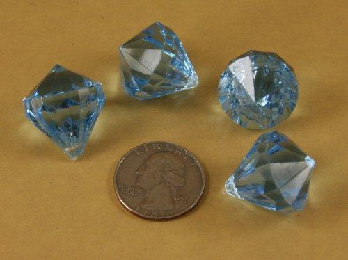 - 20 Acrylic Diamond Shape Gems Table Scatter or Vase Decoration or Hanging Decor (LIGHT BLUE)