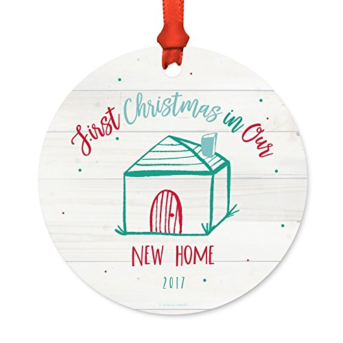 Andaz Press Custom Year Metal Christmas Ornament, First Christmas in Our New Home 2019, Fair Isle Holiday, 1-Pack, Includes Ribbon and Gift Bag