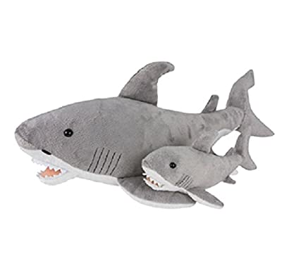 "Birth of Life Great White Shark with Baby Plush Toy 23"" Long"