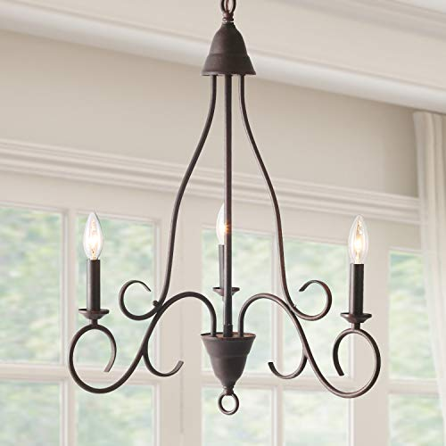 LALUZ 3 Lights Transitional Island Pendant Iron Chandelier in Rusty Metal Finish with Candlesticks, 24