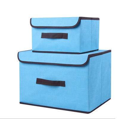 Cajas de almacenamiento,Tejido de lino Cubierta plegable Cubos Cajas de organizador Cajones de contenedores con tapa, Cajas...