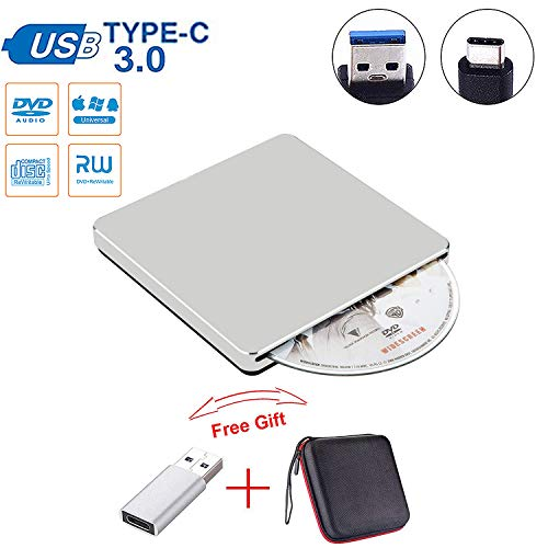 Guamar External CD DVD Drive USB C Slot in Drive USB 3.0 External CD Drive CD Player +/-RW Burner Writer Compatible with MacBook Pro Air/Laptop/Windows10 with Free USB 3.0 Adapter (Silver)