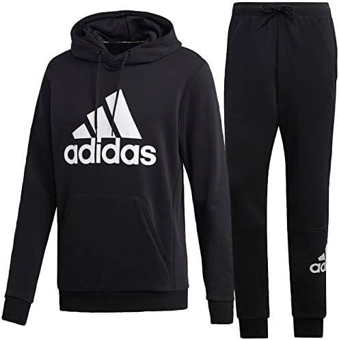 アディダス(adidas) MUSTHAVES BADGE OF SPORTS 裏毛プルオーバースウェットパーカー&パンツ上下セット(ブラックホワイト) FSD53-DQ1461-FSD64-DQ1445