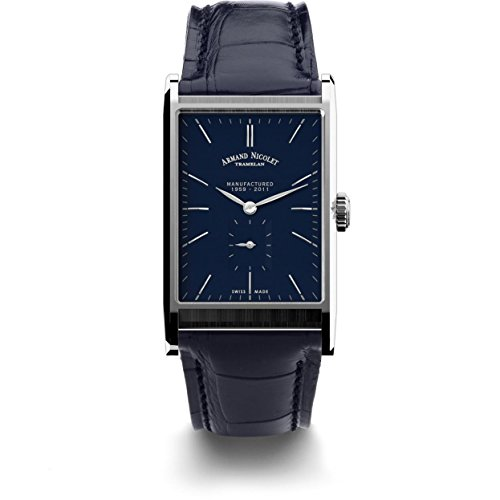 Armand Nicolet Men's 9680A-BU-P680BU4 L11 Limited Edition Stainless Steel Rectangular Watch With Blue Alligator-Leather Strap