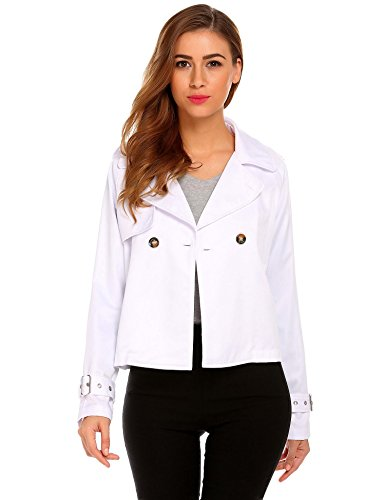 (SummerRio Women Long Sleeves Crop Jacket Lightweight Open Front Short Trench Coat White Small)