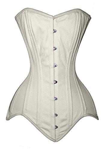 Luvsecretlingerie 26 Double Steel Boned Waist Training Long Line Overbust Corset, Ivory, L/28 (For waist 32