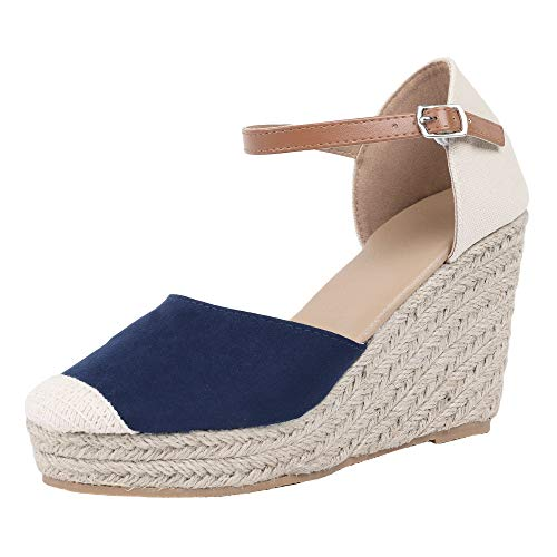 - FISACE Womens Summer Espadrille Heel Platform Wedge Sandals Ankle Buckle Strap Closed Toe Shoes Navy
