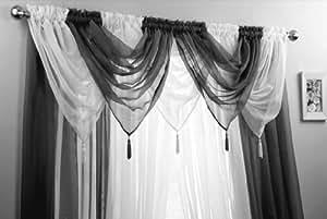 Set de cortinas exquisito en negro y blanco voile 5 swag 4 - Cortinas en blanco y negro ...