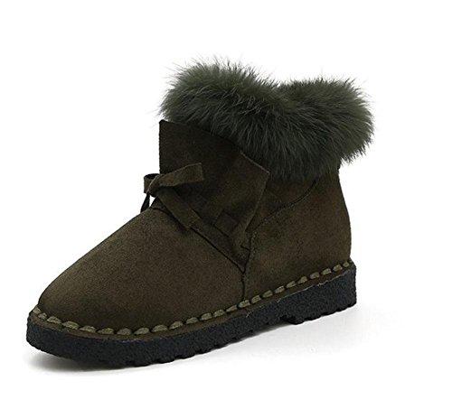 KUKI Botas de mujer, botas, zapatos de mujer, botas de nieve, tubo corto, salvaje, estudiantes, arco, encaje, botas, cálido, zapatos de pan, casual, moda green