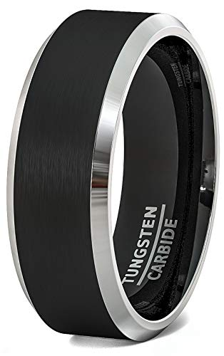 Duke Collections Mens Wedding Band 8mm Black Tungsten Rings Brushed Matte Finish Two Tone Beveled Edge Comfort Fit (9.5)