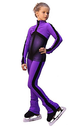 IceDress Figure Skating Outfit - Jump (Purple with Black stripes) (CXS) by IceDress