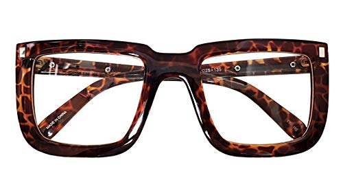 Big Square Horn Rim Eyeglasses Nerd Spectacles Clear Lens Classic Geek Glasses (LEOPARD 18302, ()