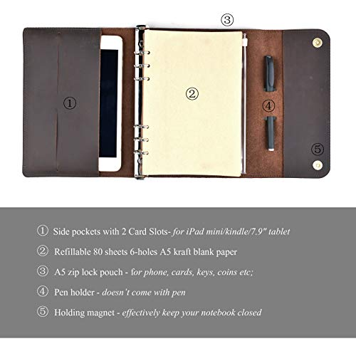 Personalized Leather Notebook Journal Refillable, with Pen Loop Writing Bound Diary Book for Men Women, Padfolio Unlined Paper Handmade Genuine Leather Travel Notepad Cover, 160 Pages A5 Customs Gift by Z'arte (Image #4)