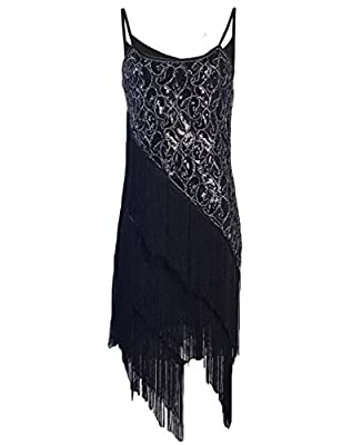 KAYAMIYA Women's 1920S Sequin Paisley Pattern Tiered Tassel Gatsby Flapper Dress