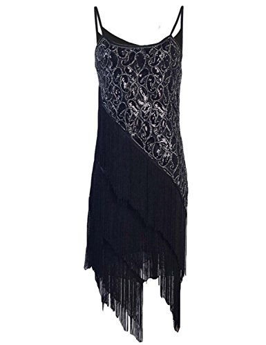Paisley Vintage Costumes (KAYAMIYA Women's 1920S Sequin Paisley Fringe Gatsby Flapper Dress S Pure Black)